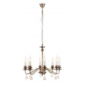 RABALUX 7059 | Beatrice Rabalux luster svjetiljka 8x E14 antik brončano, bijelo, prozirno