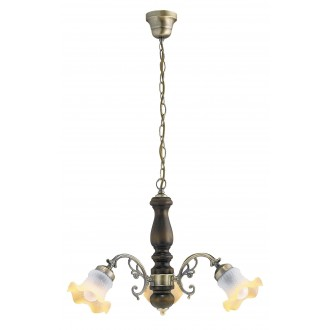 RABALUX 7073 | Rustic Rabalux luster svjetiljka 3x E14 bronca, boja oraha, šampanjac žuto