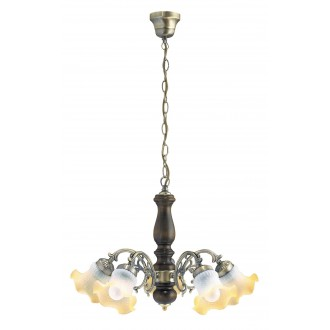 RABALUX 7075 | Rustic Rabalux luster svjetiljka 5x E14 bronca, boja oraha, šampanjac žuto