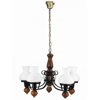 RABALUX 7079 | Petronel Rabalux luster svjetiljka 5x E27 crno mat, boja oraha, bijelo