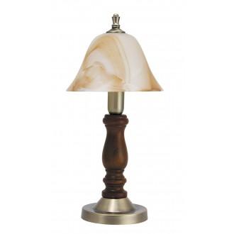 RABALUX 7092   Rustic3 Rabalux stolna svjetiljka 37,5cm sa prekidačem na kablu 1x E14 bronca, boja oraha, smeđe alabaster