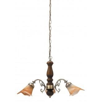 RABALUX 7093 | Rustic3 Rabalux luster svjetiljka 3x E14 bronca, boja oraha, smeđe alabaster