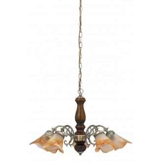 RABALUX 7095 | Rustic3 Rabalux luster svjetiljka 5x E14 bronca, boja oraha, smeđe alabaster