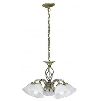 RABALUX 7135 | Beckworth Rabalux luster svjetiljka 5x E14 bronca, bijelo alabaster