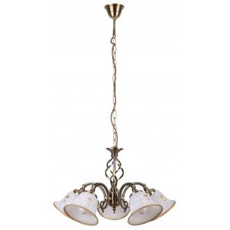 RABALUX 7175 | Art-Flower Rabalux luster svjetiljka 5x E14 bijelo alabaster, bronca