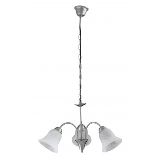 RABALUX 7363 | Francesca Rabalux luster svjetiljka 3x E14 kromni mat, bijelo alabaster