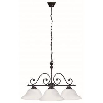 RABALUX 7773 | Dorothea Rabalux visilice svjetiljka 3x E27 crno mat, bijelo alabaster