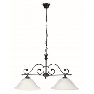 RABALUX 7777 | Dorothea Rabalux visilice svjetiljka 2x E27 crno mat, bijelo alabaster