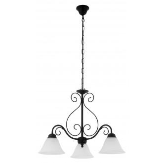 RABALUX 7813 | Athen Rabalux luster svjetiljka 3x E14 crno mat, bijelo alabaster