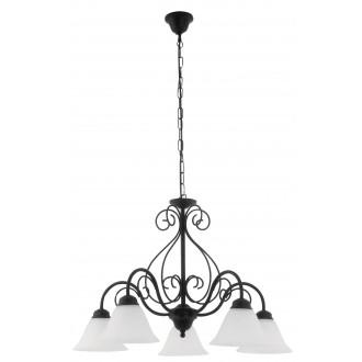 RABALUX 7815 | Athen Rabalux luster svjetiljka 5x E14 crno mat, bijelo alabaster