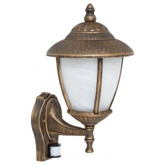 RABALUX 7836 | Madrid Rabalux zidna svjetiljka sa senzorom 1x E27 IP43 antik zlato, bijelo alabaster