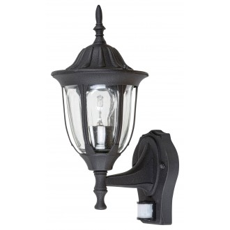 RABALUX 7837 | Milano Rabalux zidna svjetiljka sa senzorom 1x E27 IP43 crno mat, prozirno