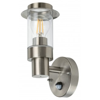 RABALUX 7839 | Warsaw Rabalux zidna svjetiljka sa senzorom 1x E27 IP44 krom saten, prozirno