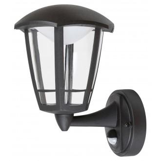 RABALUX 7849 | Sorrento Rabalux zidna svjetiljka sa senzorom 1x LED 500lm 3000K IP44 UV crno mat, prozirno