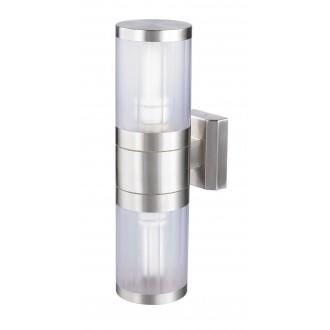 RABALUX 8167 | Atlanta Rabalux zidna svjetiljka 2x E27 IP44 UV plemeniti čelik, čelik sivo, prozirno