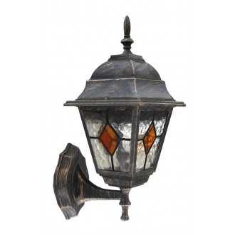 RABALUX 8182 | Monaco Rabalux zidna svjetiljka 1x E27 IP43 antik zlato, crveno, prozirna