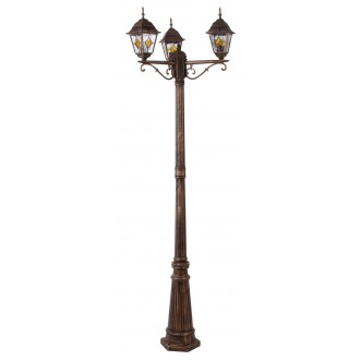 RABALUX 8186 | Monaco Rabalux podna svjetiljka 212cm 3x E27 IP43 antik zlato, crveno, prozirna