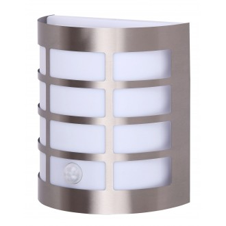 RABALUX 8200 | SevillaR Rabalux zidna svjetiljka sa senzorom 1x E27 IP44 UV plemeniti čelik, čelik sivo, bijelo