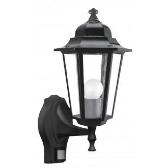 RABALUX 8217 | Velence1 Rabalux zidna svjetiljka sa senzorom 1x E27 IP43 crno, prozirno