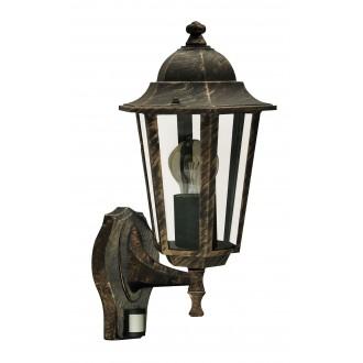 RABALUX 8218 | Velence Rabalux zidna svjetiljka sa senzorom 1x E27 IP43 antik zlato, prozirno