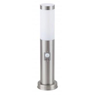 RABALUX 8267 | Inox Rabalux podna svjetiljka 45cm sa senzorom 1x E27 IP44 UV plemeniti čelik, čelik sivo, bijelo