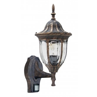 RABALUX 8370 | Milano Rabalux zidna svjetiljka sa senzorom 1x E27 IP43 antik zlato, prozirno
