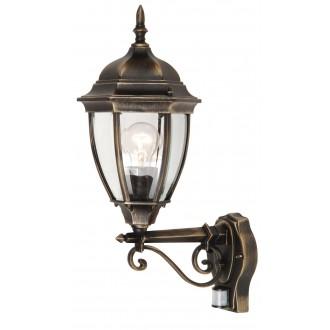 RABALUX 8380 | TorontoR Rabalux zidna svjetiljka sa senzorom 1x E27 IP44 antik zlato, prozirno