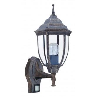 RABALUX 8458 | Nizza Rabalux zidna svjetiljka sa senzorom 1x E27 IP43 antik zlato, prozirno