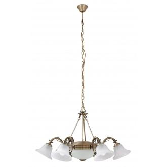 RABALUX 8556 | Orchidea Rabalux luster svjetiljka 6x E14 + 2x E27 bronca, bijelo alabaster