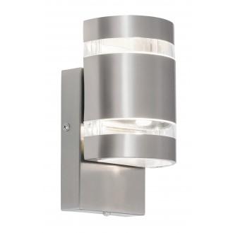 RABALUX 8779 | Cambridge Rabalux zidna svjetiljka svjetlosni senzor - sumračni prekidač 2x LED 330lm 4000K IP44 plemeniti čelik, čelik sivo