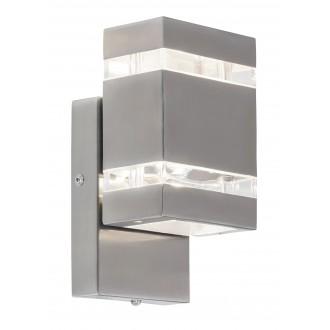 RABALUX 8780 | Cambridge Rabalux zidna svjetiljka svjetlosni senzor - sumračni prekidač 2x LED 330lm 4000K IP44 plemeniti čelik, čelik sivo