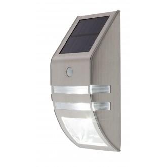 RABALUX 8783 | Rijeka Rabalux zidna dekoracija svjetiljka sa senzorom solarna baterija 1x LED 50lm + 1x LED 15lm 6000K IP44 plemeniti čelik, čelik sivo