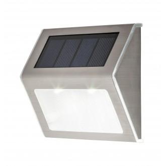 RABALUX 8784 | Santiago Rabalux zidna dekoracija svjetiljka solarna baterija, dvodijelni set 1x LED 12lm 6000K IP44 plemeniti čelik, čelik sivo