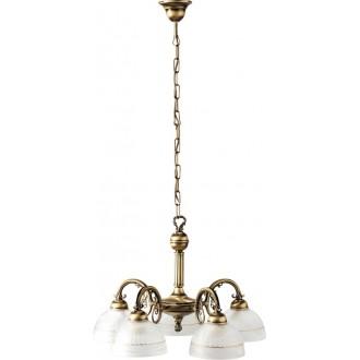 RABALUX 8815 | Flossi Rabalux luster svjetiljka 5x E27 bronca, bijelo alabaster