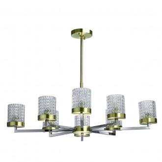REGENBOGEN 605011708 | Hamburg-MW Regenbogen luster svjetiljka 8x E27 5160lm krom, mesing, prozirno