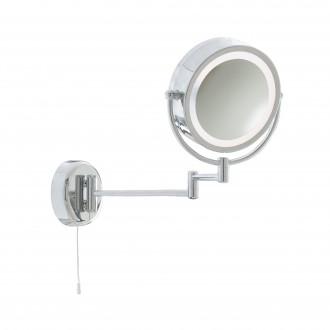 SEARCHLIGHT 11824 | MirrorS Searchlight zidna svjetiljka s poteznim prekidačem elementi koji se mogu okretati 1x E14 IP44 krom, zrcalo