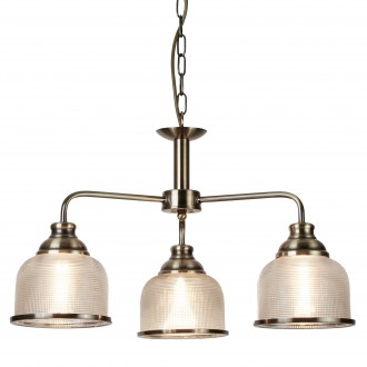 SEARCHLIGHT 1683-3AB | Bistro-II Searchlight luster svjetiljka 3x E27 antik bakar, prozirno