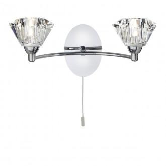 SEARCHLIGHT 2632-2CC | SierraS Searchlight zidna svjetiljka s poteznim prekidačem 2x G9 krom, prozirno