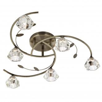 SEARCHLIGHT 2636-6AB | SierraS Searchlight stropne svjetiljke svjetiljka 6x G9 antik bakar, prozirno