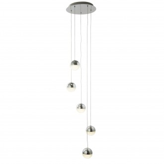 SEARCHLIGHT 5845-5CC | marble effects Searchlight visilice svjetiljka s mogućnošću skraćivanja kabla 5x LED 1080lm 4000K krom, bijelo, učinak kristala