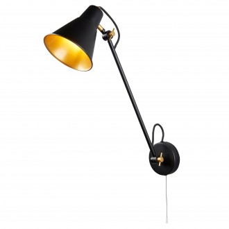 SEARCHLIGHT 6302BK | Wall-SL Searchlight zidna svjetiljka s poteznim prekidačem elementi koji se mogu okretati 1x E27 crno mat, zlatno