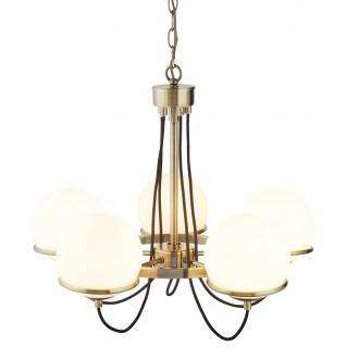 SEARCHLIGHT 7095-5AB | SphereS Searchlight luster svjetiljka 5x E14 antik bakar, opalno bijela
