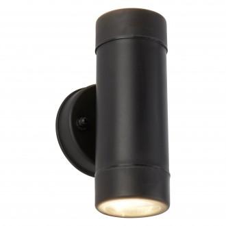 SEARCHLIGHT 7592-2BK | OutdoorS-021 Searchlight zidna svjetiljka namjenjeno za primorje 2x GU10 540lm 3000K IP44 crno, prozirno