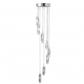 SEARCHLIGHT 888-8 | Sculptured-Ice Searchlight visilice svjetiljka 8x G4 krom, prozirno