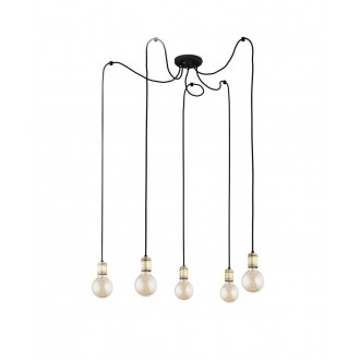TK LIGHTING 2362 | Qualle Tk Lighting visilice svjetiljka s mogućnošću skraćivanja kabla 5x E27 crno
