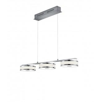 TRIO 378010307 | Agento Trio visilice svjetiljka s podešavanjem visine, jačina svjetlosti se može podešavati 3x LED 2250lm 3000K poniklano mat, sivobijela