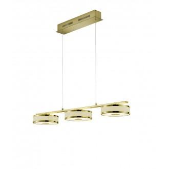 TRIO 378010308 | Agento Trio visilice svjetiljka s podešavanjem visine, jačina svjetlosti se može podešavati 3x LED 2250lm 3000K mat zlato, sivobijela