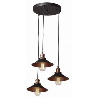 VIOKEF 4135500 | Adisson Viokef visilice svjetiljka 3x E27 crno, crveni bakar