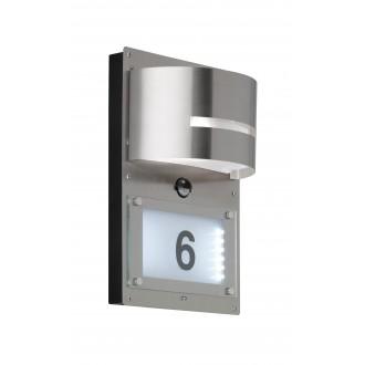 WOFI 4046.02.97.7000 | MarvelW Wofi zidna svjetiljka sa senzorom, svjetlosni senzor - sumračni prekidač 1x E27 + 1x LED 55lm IP44 brušeni čelik