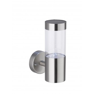 WOFI 4049.01.97.7000 | Amalfi Wofi zidna svjetiljka svjetlosni senzor - sumračni prekidač solarna baterija 1x LED 24lm 6000K IP44 brušeni čelik, prozirno